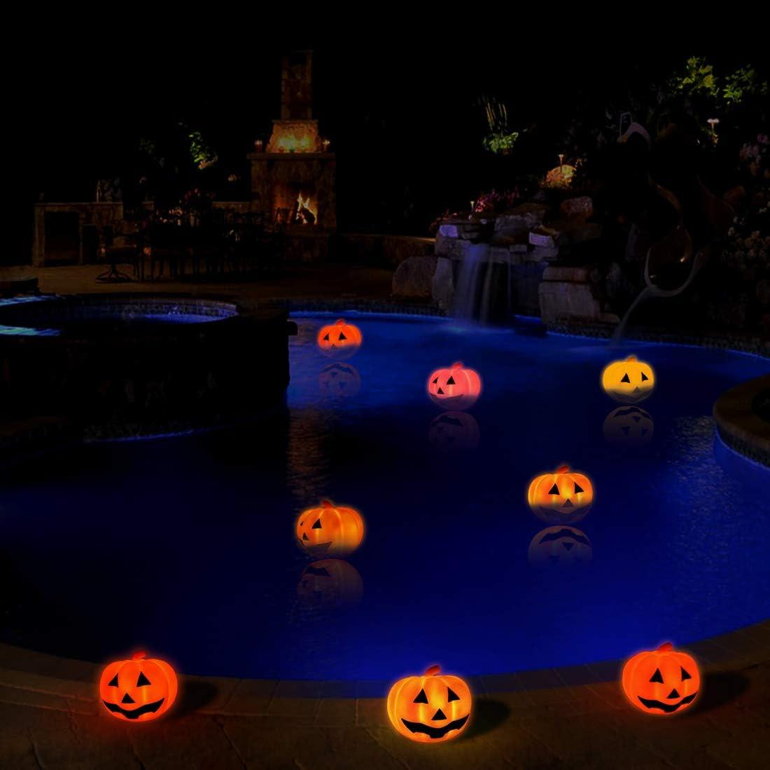 KingSom Halloween Luces De Calabaza,Luces Decorativas de Halloween con Cara Divertida,IP67 Impermeable,Colores Intermitentes Ligero Halloween Luces LED para Acci/ón de Gracias Fiesta de Halloween(4pcs)
