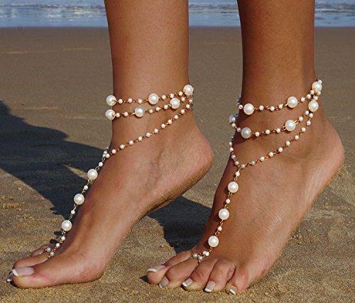 56e1c70bc7a217 Bienvenu 2pcs Pearl Ankle Chain Bracelet Beach Wedding Foot Jewelry  Barefoot Sandal Anklet Chain