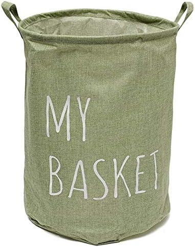 ランドリーバスケット 洗濯かご コットンリネン生地折り畳み式の洗濯洗濯物用かごバッグ服バスケットストレージビン 洗濯ボックス 収納ボックス (Color : Green, Size : One size)