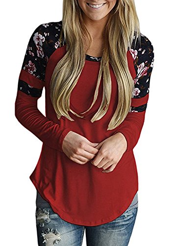 Astylish Women's Casual Long Sleeve Floral Print T-Shirts Striped Blouse Tops Red Small (Red Flower Shirts)