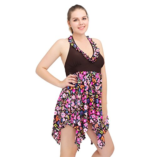 Price comparison product image Lonfly Women Swimsuits Dress Flower Printed Deep-V Lace Neck Swimdress High Waist Backless Swimwear Plus Size 6XL(US20-22)