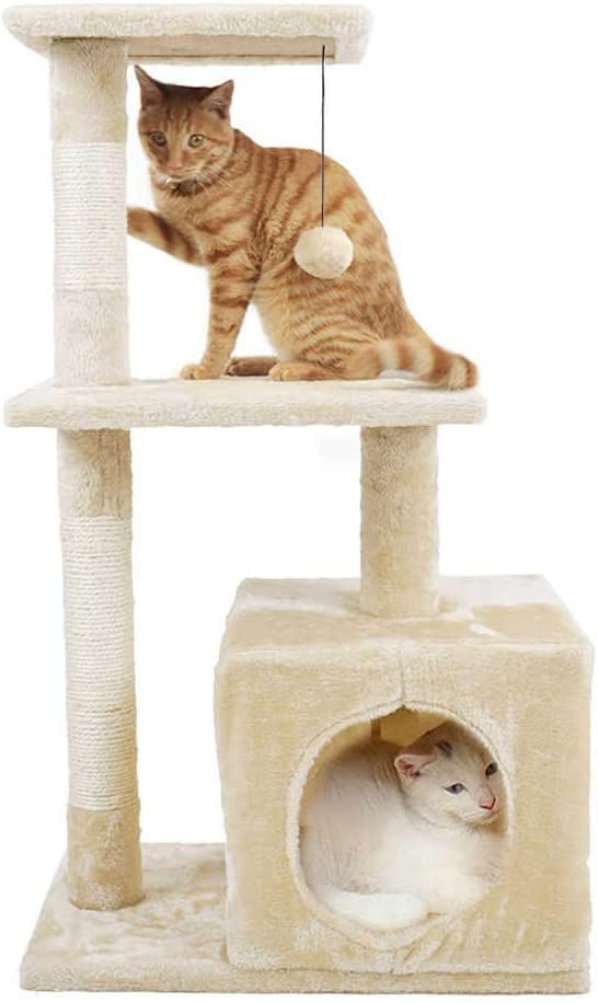 Zoogamo 34 Inches Tall Luxury Cat Tree Tower Stand 5 Levels Platform with Condo Scratching Posts Padded Perch and Dangling Ball Cat Home Furniture