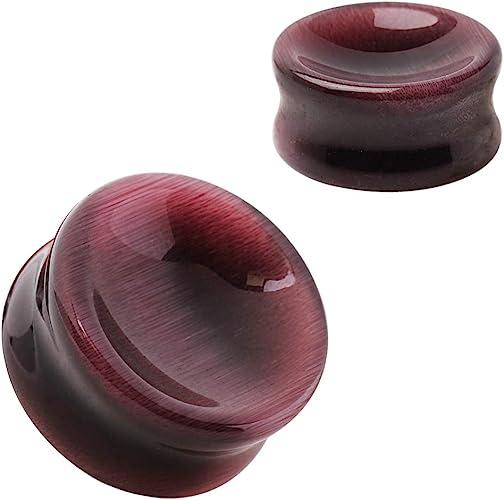 Natural Purple Cats Eye Concave Stone Saddle Plug