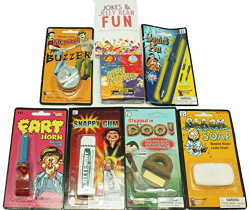 Pranks and Practical Jokes For Kids - 7 Pc Practical Joke Kit Gift Set for Kids - Jelly Belly Bean Boozled, Fart Horn, and More - now includes FREE BONUS Mini Brochure ()