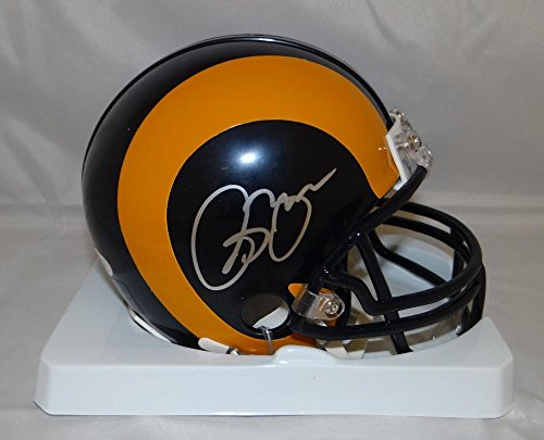 Isaac Bruce Autographed St. Louis Rams TB Mini Helmet- JSA Witnessed Auth
