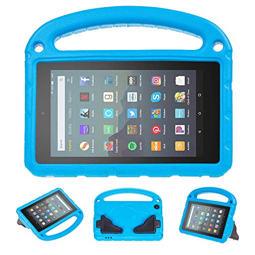 SUPWANT Kids Case for All-New Fire 7 2019 - Kid-Proof Light Weight Protective Case with Handle Convertible Stand for Amazon Fire 7 Tablet (9th Generation - 2019 Release), Blue (Best Tablets 2019 For Kids)