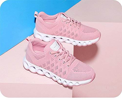 Zapatos de Mujer Sneakers Casual Knit Ladies Spring Fall Entrenadores Casual Athletic Mesh Transpirable Running Shoes Zapatos de Mujer Low-Top Sneakers (Color : Rosado, tamaño : 34)