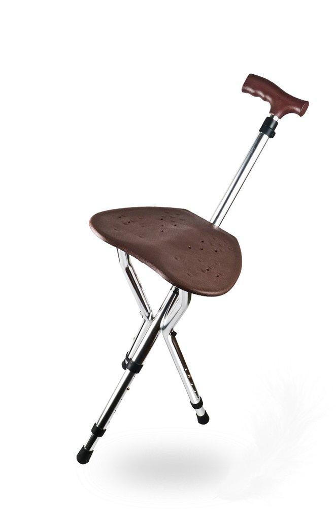 Walking Stick Three Legged Seat Stick Aluminium Hollow Seat Cushion Height Adjustable Healthcare Folding Seat Cane Disability Medical Aid 81-89 Cm
