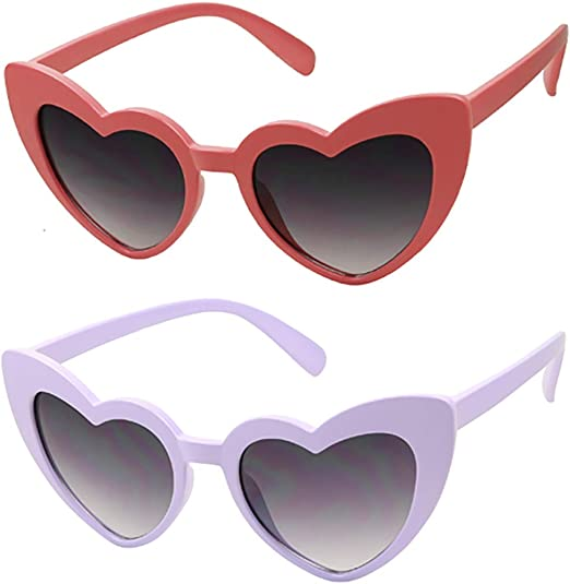 Vintage Cateye Mod Style Retro Designer Sunglasses Kids Heart Shaped Love Colorful Sunglasses Girls Toddlers Ages 2-6 Yrs