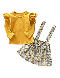 Tianhaik 1-6 Yrs Toddler Girl Ruffle Long Sleeve Shirt + Floral Suspender Skirt Clothes Set