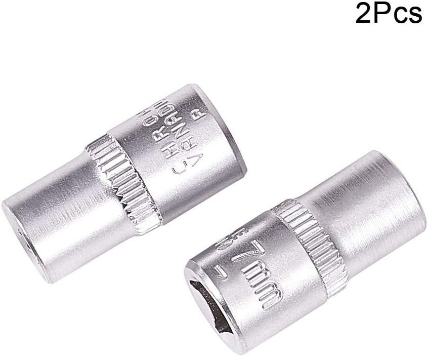 Metric Utoolmart 1//4-inch Drive 6mm 12-Point Shallow Socket Cr-V 2pcs