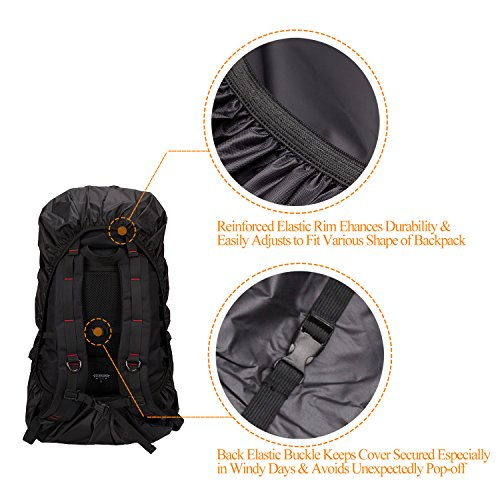 PAMASE 30L 70L Waterproof Nylon Backpack Rain Cover with Adjustable Buckle Strap & Reflective Letter Strip for Hiking