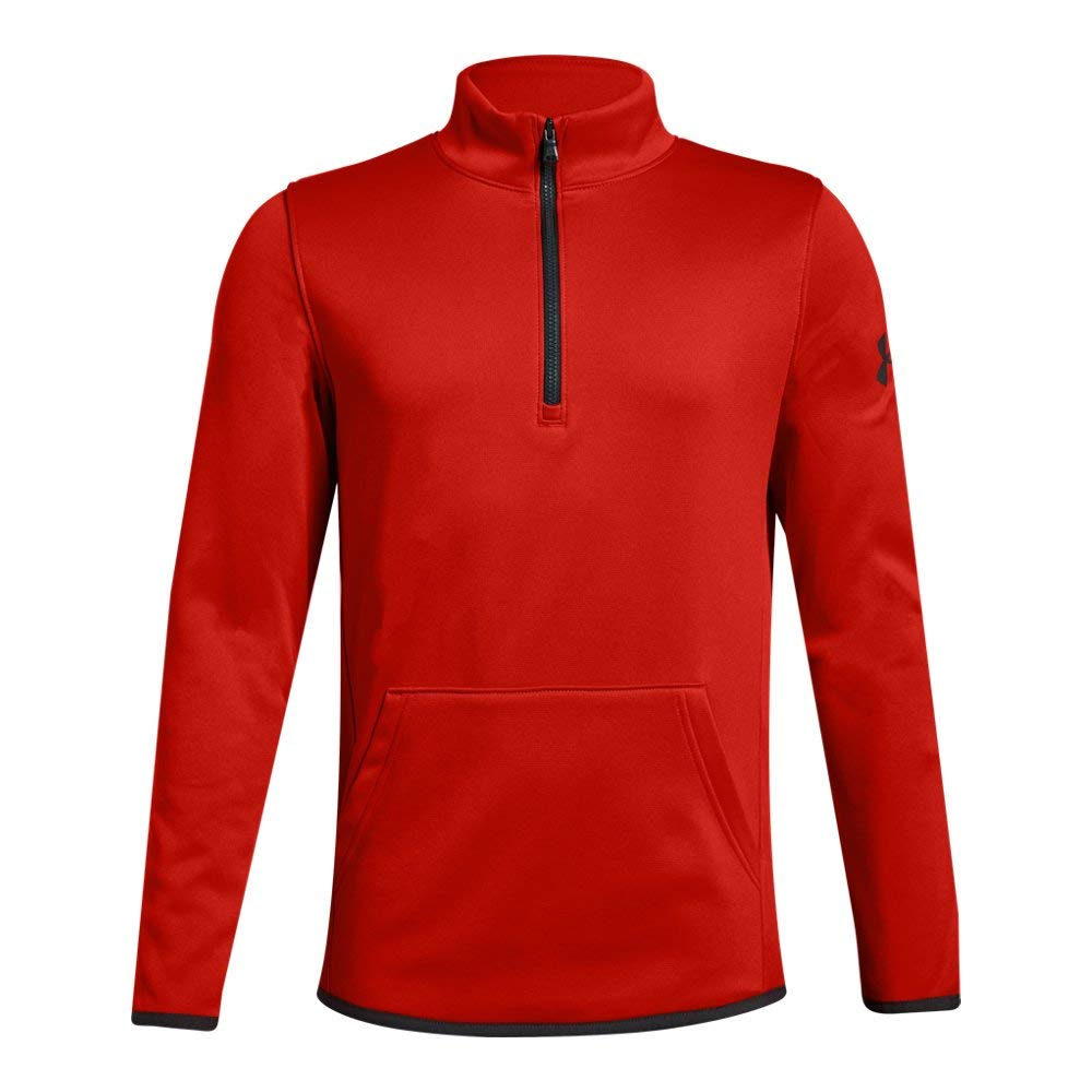 Under Armour Boys Armour Fleece 1/2 Zip, Radio Red (890)/Charcoal, Youth Large