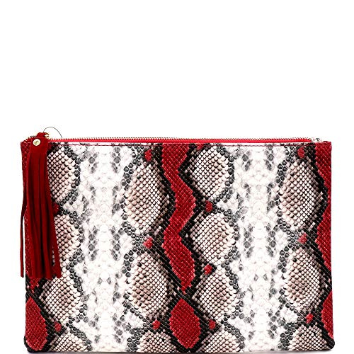Snake Print Soft PU Leather Envelope Clutch Bag with Crossbody Chain Strap (Zip-top Oversize Tassel Clutch - Red)