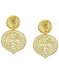 Kenneth Jay Lane Womens Satin Gold Filagree Drop Clip Earrings