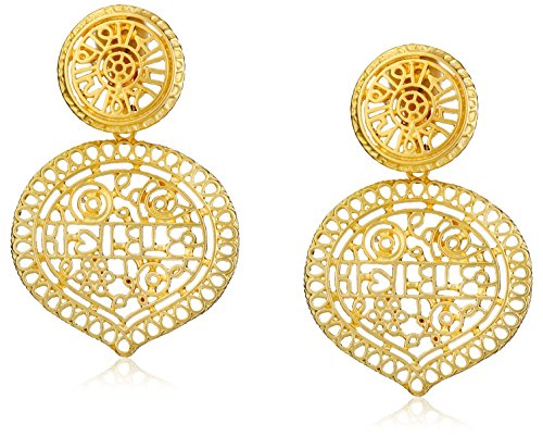 - Kenneth Jay Lane Satin Gold Filigree Drop Clip-On Earrings