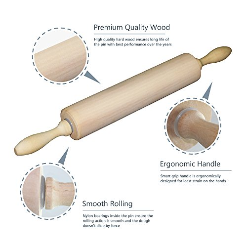Rolling Pin - Classic Wood - Ideal for Baking Needs - Professional Dough Roller - Used by Bakers & Cooks for Pasta, Cookie Dough, Pastry, Bakery, Pizza, Fondant, Chapati - 16.5 inches by 2 inches by K BASIX (Image #2)
