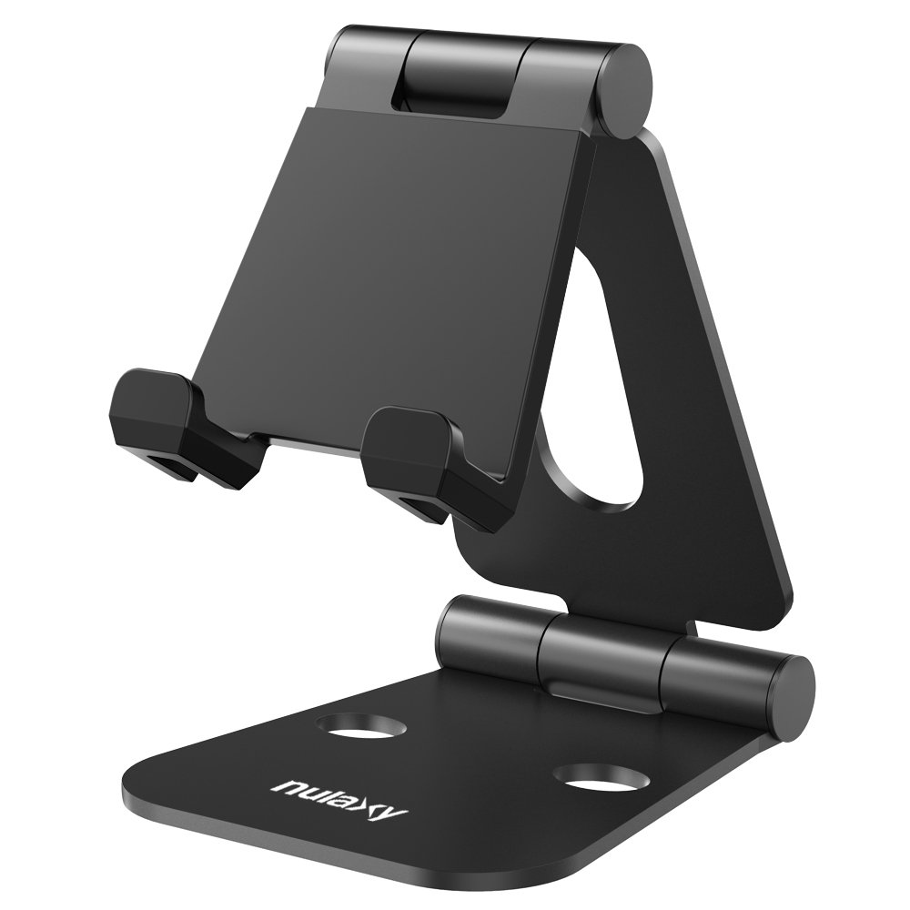 Nulaxy Foldable Tablet Phone Stand, Compatible with Nintendo Switch Desk Holder for iPad Air Pro iPhone X 8 7 6 Plus Samsung Galaxy Tab Android Smartphones Tablets (4-10 Inch) E-Readers - Black