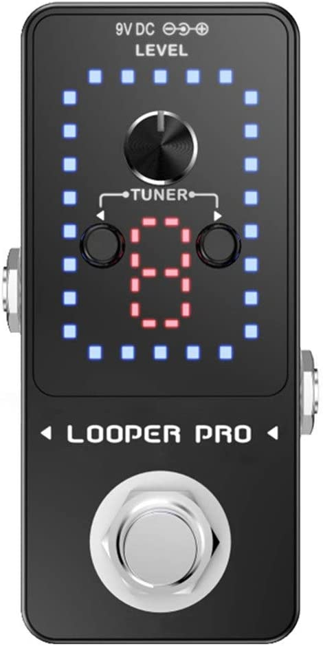 Jajx Guitar Multi Effect Pedal Portable Looper Guitar Effect Pedal 10 Minutes of Looping with Led Display Color : Black, Size : Free Size