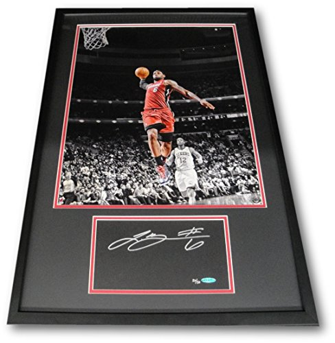 - Lebron James Hand Signed Cut Custom Matte Framed with 16x20 Photo UDA xx/50
