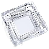 GardenHelper Crystal Cut Glass Ashtray, Square Tabletop Glass Ashtray Smoke Collectible Tribal for Indoor Outdoor and Decorative (4.72 x 4.72 inch)