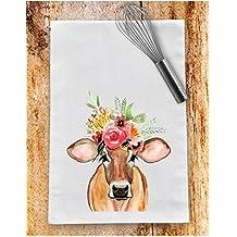 Floral farmhouse cow flour sack tea towel