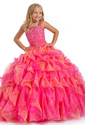 (BFB Flower Girls' Prom Ball Gown Floor Length Wedding Pageant Dresses (10, Paris Pink))