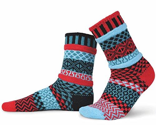 (Solmate Socks - Mismatched Crew Socks; Made in USA, Mars Large )