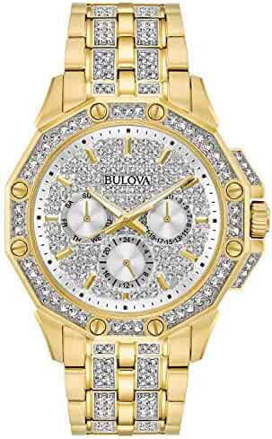 Bulova Men's  98C126  Swarovski Crystal Pave Bracelet Watch