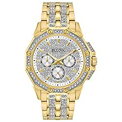 Gold Tone Watch Embellished With Swarovski Crystals