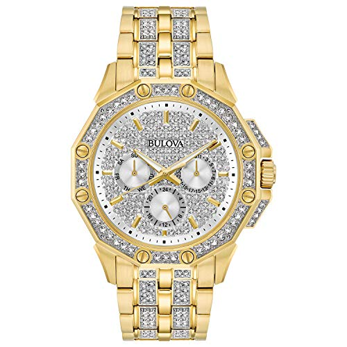 - Bulova Men's  98C126  Swarovski Crystal Pave Bracelet Watch