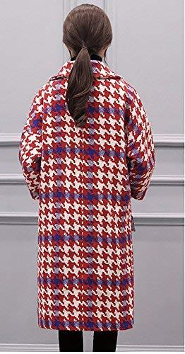 Vintage Fashion Invernali Outerwear Relaxed Maniche Transizione Classica Donna Bavero Cappotto Elegante Lunghe Giaccone Lunga Di Rosso Lana Autunno SqgS0