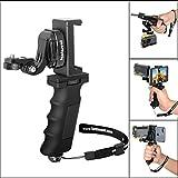 Fantaseal Ergonomic Action Camera Hand Grip Mount w/ Smartphone Clip for Sony FDR X-3000V X1000VR HDR AS 300 AS-10/15 /20 /30/50 /100 /200 AZ-1 Action Cam Nikon Keymission Hand Grip HandHeld Holder