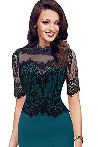 Damen Vintage 1950er Spitzenkleid Kurzarm knielang Abendkleid Sommerkleid Partykleider Grün 5XL