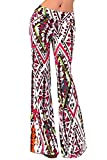 dextrad Hot Womens Printed Wide Leg Stretch Pants Casual Long Loose Lounge Bell Bottom