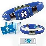 Waterproof ELITE USB blue silicone medical alert ID bracelet with 2 GB USB (Blue)