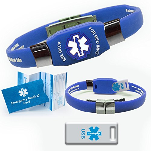 Waterproof ELITE USB silicone medical ID bracelet with 2 GB USB. Choose Your Color! (Blue) (2 Gb Blue Usb)