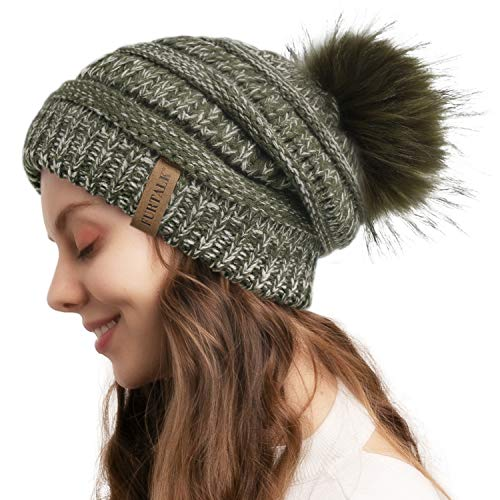 FURTALK Beanie Hat for Ladies Double Layer Fleece Line Winter Rib Knit Hats with Faux Fur Pom Pom Hat