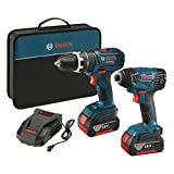 Bosch CLPK237-181 18-volt Lithium-Ion 2-Tool Combo Kit with 1/2-Inch Hammer Drill/Driver, 1/4-Inch Hex Impact Driver, 2 Batteries, Charger and Bag