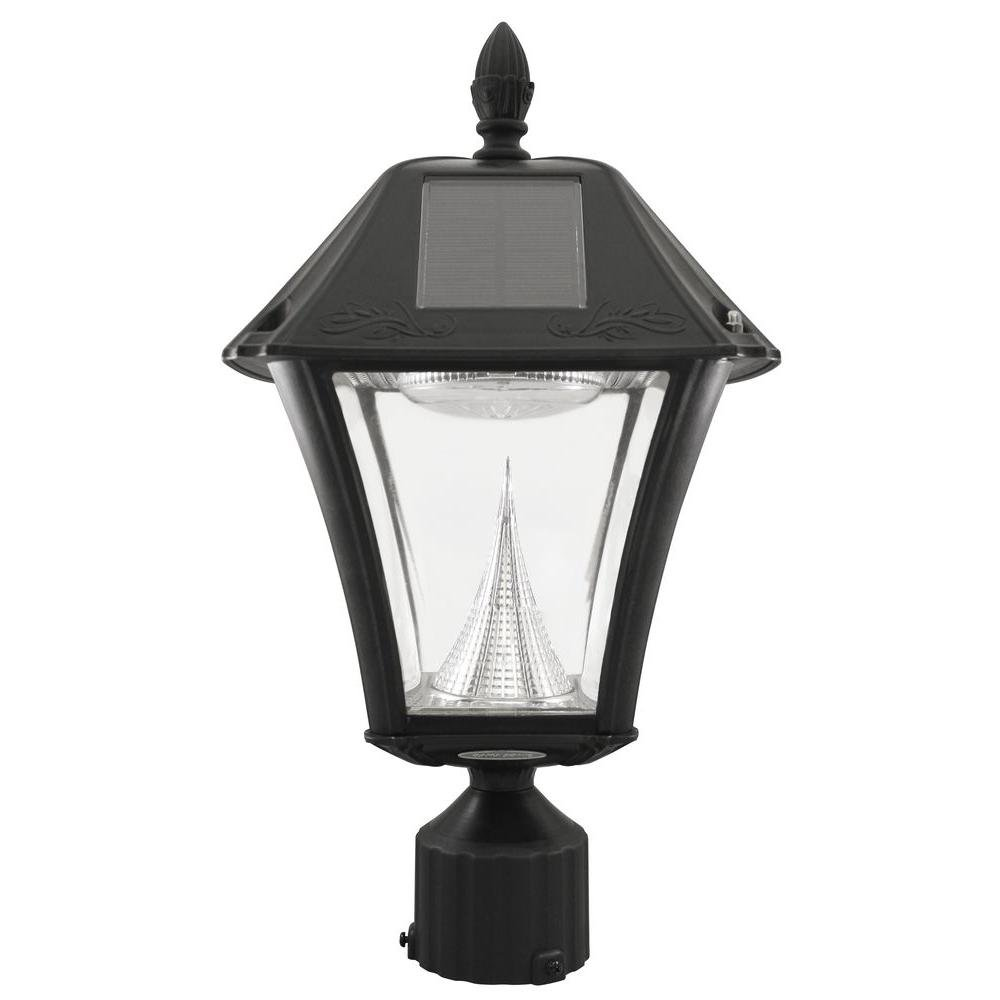 Baytown Ii Outdoor Black Resin Solar Post Light With 10 Bright White Led And 3 In. Fitter Mount