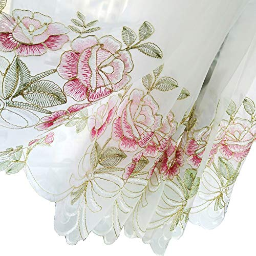 (HOLY HOME Fan-Shaped Balloon Shades Pink Voile Embroidery Rose Flowers Drawstring Pull-up Jabots Sheer Panels Cloth Art Home Décor 33 by 45 inches)