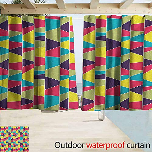 AndyTours Rod Pocket Top Blackout Curtains/Drapes,Colorful Mosaic Pattern with Lines and Hand Drawn Elements Borders with Trapezoid Shapes,Simple Stylish Waterproof,W63x63L Inches,Multicolor