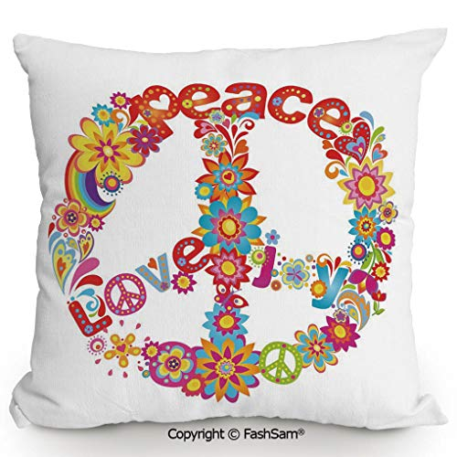 Home Super Soft Throw Pillow Peace Sign Colorful Flowers Rainbows Love and Joy Festive Composition Decorative for Sofa Couch or Bed(20