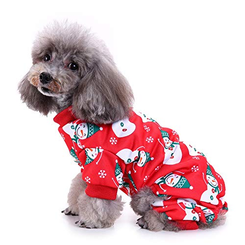 Delifur Dog Christmas Snowman Costume Cute Pajamas with Elk Soft Suit Apparel for Dogs Cats