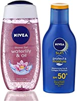 Nivea Sun and Shower Combo (Moisturising Sun Lotion SPF 50, 75ml and Waterlily and Oil Shower Gel, 250ml)