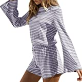 HHei_K Womens Casual Roud Neck Flare Long Sleeve Drawstring Elastic Waisted Wide Leg Short Striped Playsuits Jumpsuit