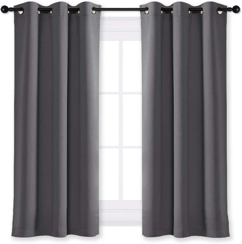 NICETOWN Blackout Curtain Blind for Bedroom Thermal Insulated Grommet Blackout Room Darkening Drape/Drapery (Single Panel, W42 x L63 inches, Grey/Gray)