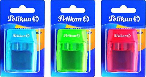 Azul Sacapuntas con deposito 2 Orificios Pelikan 700245 Rosa o Verde