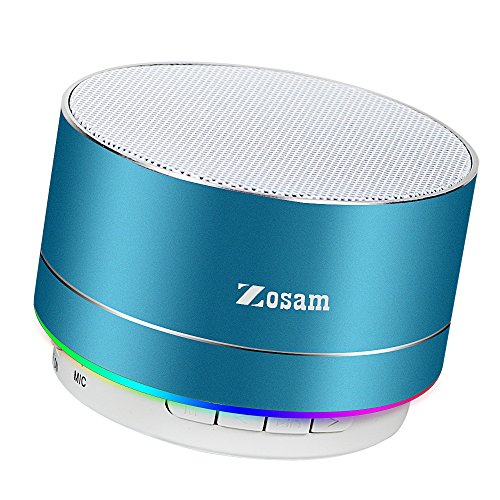 Zosam Mini Wireless Speaker, Portable Bluetooth Speaker with HD Sound, 4H Playing Time, Built-in Mic, SD/TF Card Slot, FM and LED Moodlights for Home, Travel (Blue)