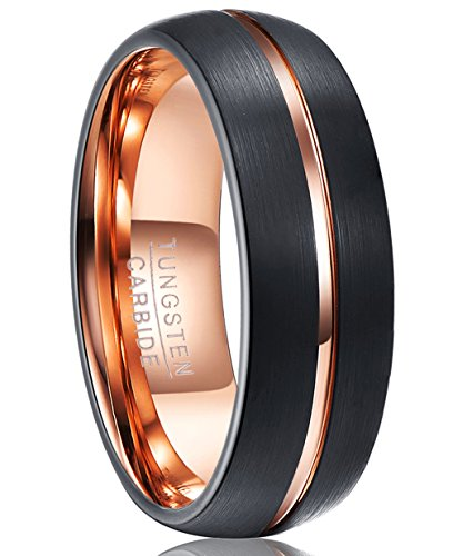- VAKKI Tungsten Carbide Ring for Men 8mm Black Brushed Domed Wedding Band Rose Gold Plated Polished Groove Size 7